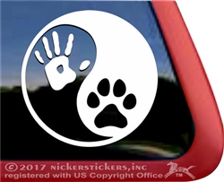 Custom Yin Yang Dog Hand Paw Window Decal