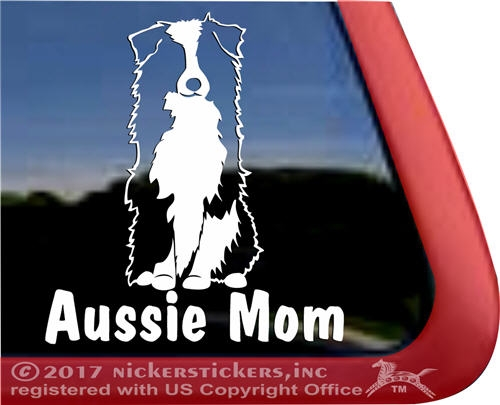 Aussie mom australian shepherd dog car truck rv window decal sticker larger photo email a friend