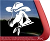 Custom Horse Wearing a Cowboy Hat Trailer Car Truck RV Window Decal Sticker