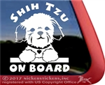 Shih Tzu On Board Dog Car Truck RV Window Decal Stickers