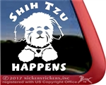 Shih Tzu Happens Dog Car Truck RV Window Decal Stickers