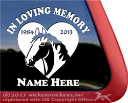 Custom Memorial Draft Horse Heart Love Head Car Truck RV Window iPad Trailer Decal Sticker