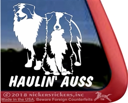Haulin' Ausse Aussie Australian Shepherd Dog Car Truck RV Window Decal Sticker