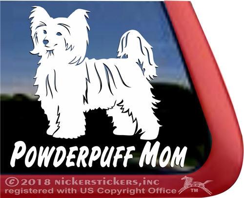 Crestie MomChinese Crested Vinyl Dog Window Decal Sticker