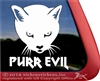 Purr Evil Kitty Cat Face Car Truck RV iPad Tablet Laptop Window Decal Sticker