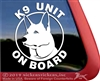 K9 Unit on Board German Shepherd Dog Car Truck RV Window Decal Sticker
