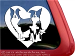 Custom Pair of Border Collies Dog Heart Love Car Truck RV Window Decal Sticker