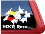 Racing Dachshund Dog Window Decal