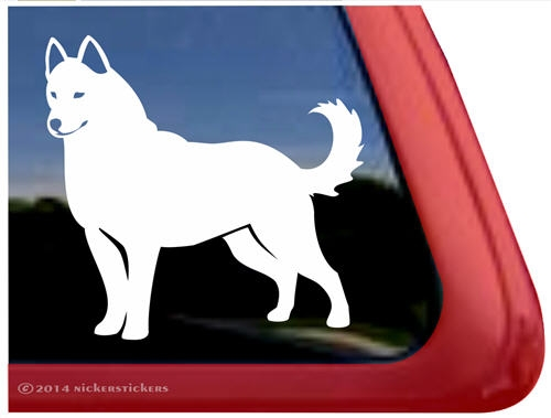 Custom white siberian husky dog ipad car truck window decal sticker larger photo email a friend