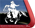 Mounted Cowboy Shooting Paint Horse Trailer Window Decal
