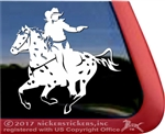 Mounted Cowboy Shooting Appaloosa Horse Trailer Window Decal