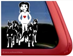 Custom Doberman Pinscher Dog Lady Car Truck RV Window Decal Sticker
