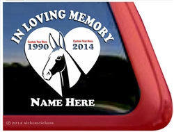 Custom Memorial Mule Heart Love Head Car Truck RV Window iPad Trailer Decal Sticker