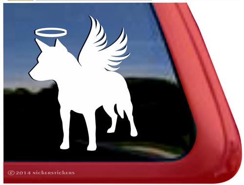 Custom memorial angel wings australian cattle dog ipad car truck rv window decal sticker larger photo email a friend
