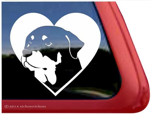 Rottweiler heart vinyl dog car truck rv window decal sticker larger photo email a friend