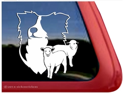 Custom Border Collie Dog and Sheep Car Truck RV Window Decal Sticker