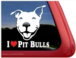 I Love Pit Bulls Smiling Pit Bull Terrier Love Dog Car Truck iPad RV Window Decal Sticker