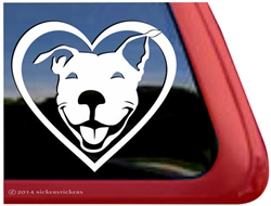 Smiling Pit Bull Terrier Heart Love Dog Car Truck iPad RV Window Decal Sticker