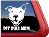 Smiling Pit Bull Terrier Mom Dog Car Truck iPad RV Window Decal Sticker