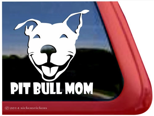 Pit Bull Mom Smiling Pit Bull Terrier Dog Decals