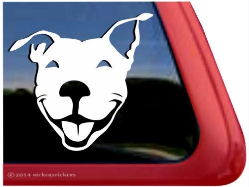 Custom Smiling Pit Bull Decals  Stickers NickerStickers - Window decal sticker