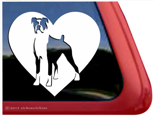 Boxer dog heart decal sticker car auto window ipad · larger photo email a friend