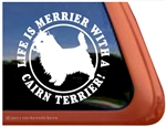 Life is Merrier Cairn Terrier Dog iPad Car Truck Window Decal Sticker