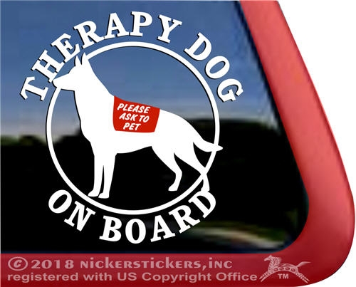 German shepherd therapy dog window decal larger photo email a friend