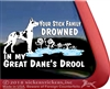 Harlequin Great Dane Drowned in Drool Stick Family Window Decal