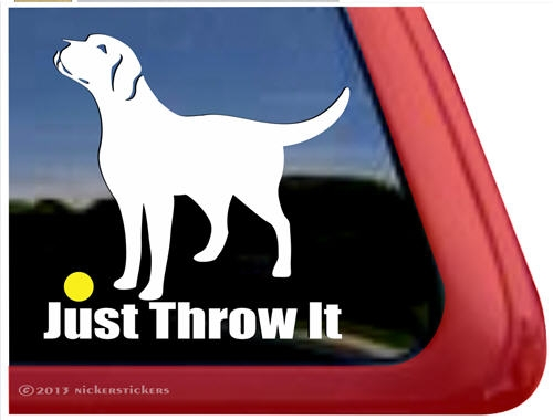 Just throw it labrador retriever dog ipad car truck window decal sticker