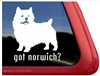 Norwich Terrier Window Decal