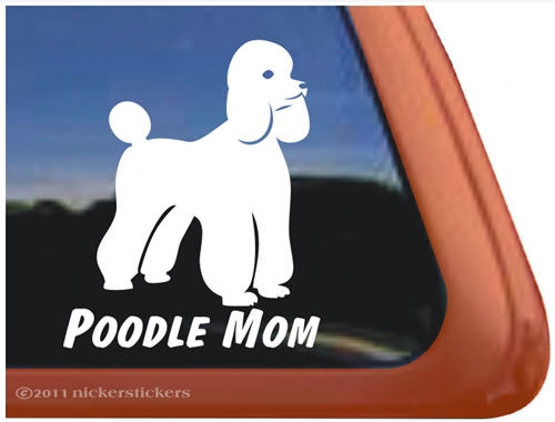 High Quality Vinyl Jumping Poodle Dog Window Decal Sticker Poodle Mom