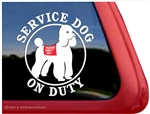 Service Dog on Duty Poodle Car Truck RV iPad Window Decal Sticker