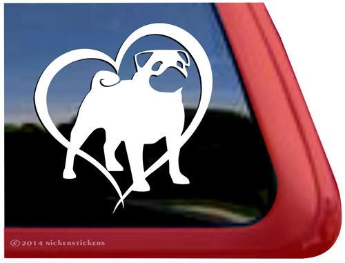 Pug Love with Heart Vinyl Car Window Laptop Decal Sticker