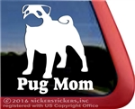Pug Mom Vinyl Dog Car Truck RV Window Decal Sticker