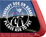 Rottweiler Therapy Dog on Board Car Truck RV Window Decal Sticker