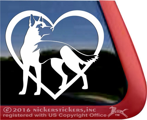 German Shepherd Love HeartHigh Quality Vinyl Dog Window Decal Sticker