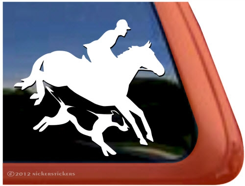 Custom foxhunt horse trailer car truck rv window decal sticker larger photo email a friend