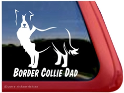Border Collie Dad Vinyl Dog Car Truck RV Window Decal Sticker