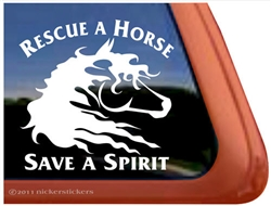 Rescue Horse Trailer Window Decal