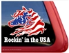 Rockin in the USA flag Rocky Mountain Horse Trailer Car Truck RV Window Decal Sticker