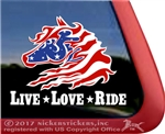 Love Love Ride USA Wild Horse Trailer Car Truck RV Window Decal Sticker