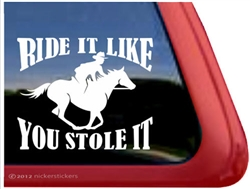 Galloping Male Rider Horse Trailer Window Decal