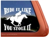 Galloping Female Rider Horse Trailer Window Decal Sticker
