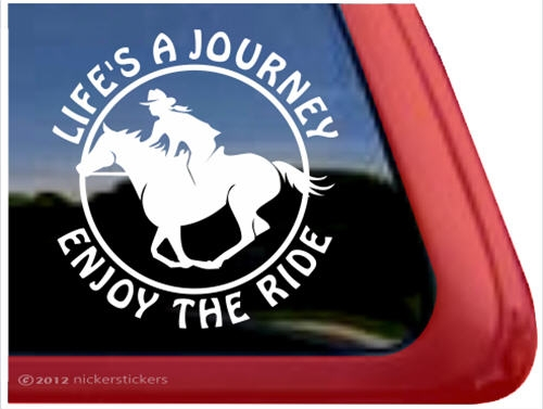 Galloping female rider horse trailer window decal · larger photo email a friend