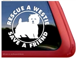 West Highland White Terrier Rescue Car Window iPad Decal Sticker