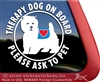 West Highland White Terrier Service Dog Car Window iPad Decal Sticker