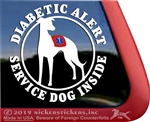 Diabetic Alert Whippet  Service Dog Car Truck RV iPad Window Decal Sticker