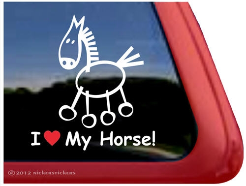 Stick horse horse trailer window decal larger photo email a friend