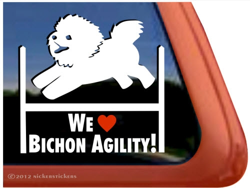 Bichon Frise Agility Dog Window Decal